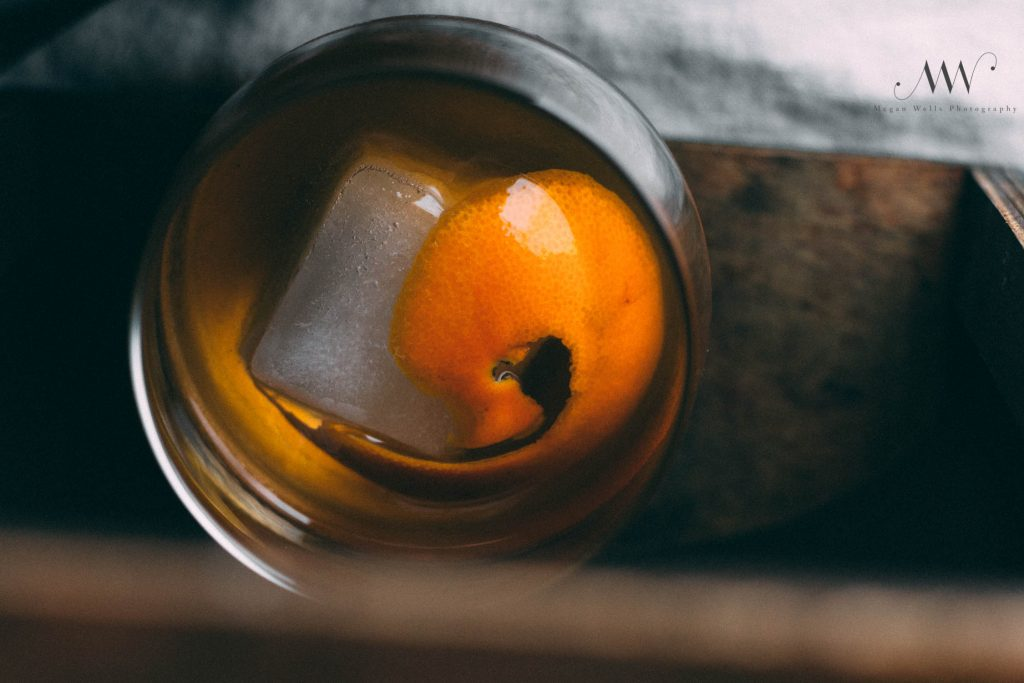 Overhead shot of an old fashioned | A little about me...an old fashioned is my favorite drink.