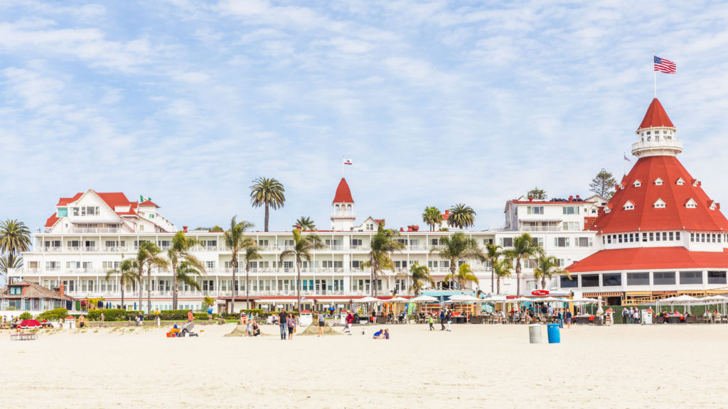 Horizontal landscape shot of the beach and the Hotel del Coronado in San Diego.