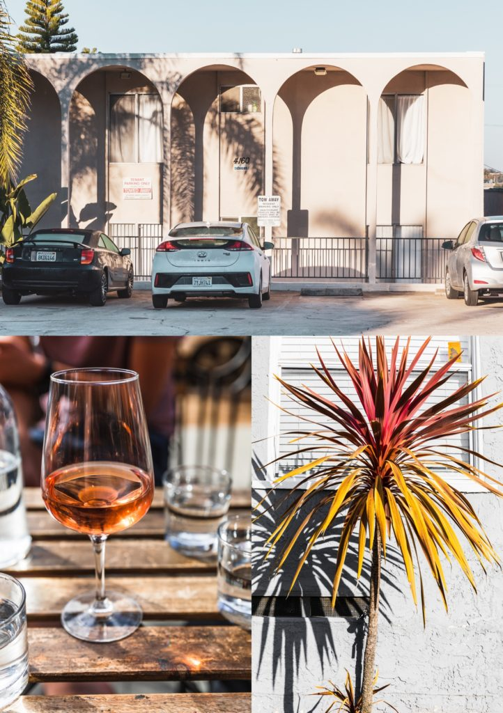 Montage of images showing a building, a wine glass, and a plant in front of a building.