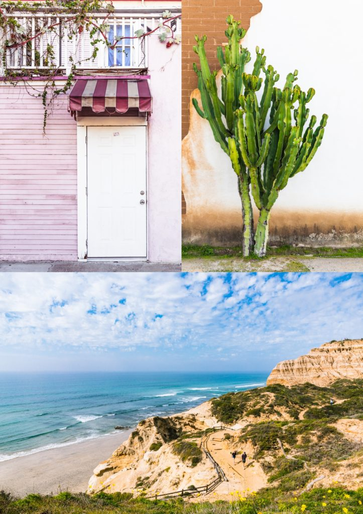 Gallery of images of a door, cactus, and beach landscape.
