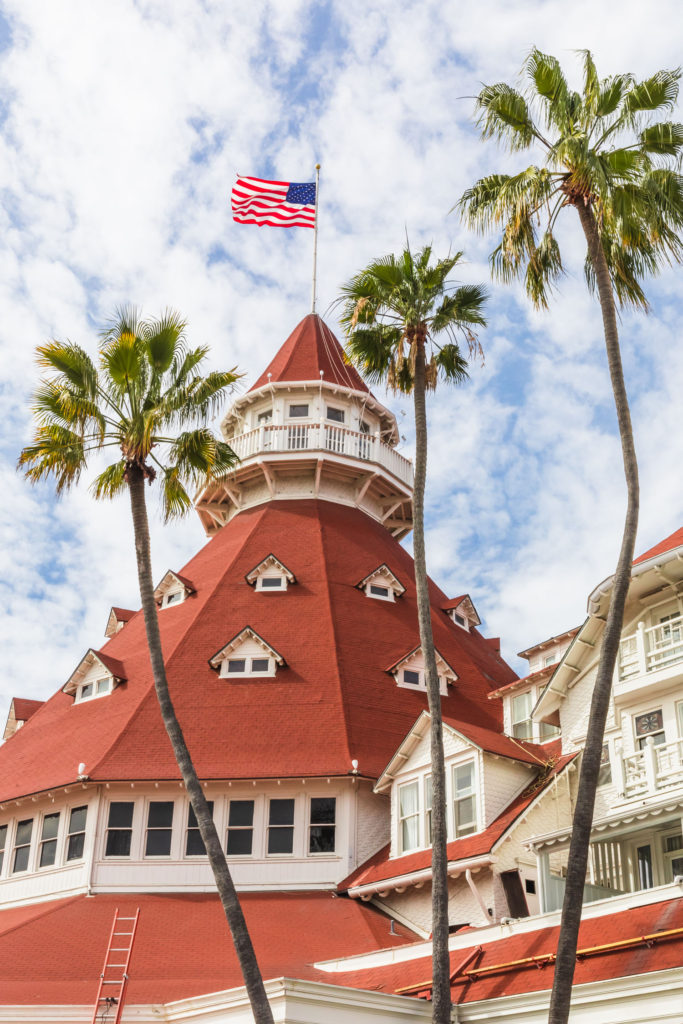 Vertical shot of the Hotel del Coronado tower with three palm trees in front.